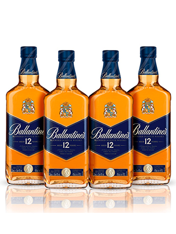 Pack 4 garrafas Whisky Ballantine's 12 anos 750ml